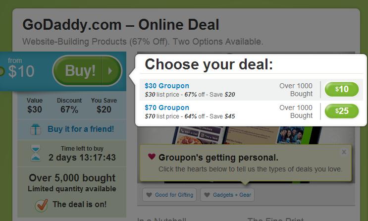 Groupon的Godaddy团购,10美元买30美元的消费券,25美元买70美元的消费券网址